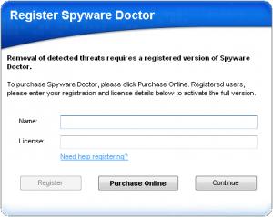 SpywareDoctor registeren